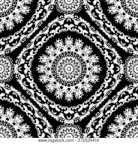 Embroidery Textured Vector Seamless Pattern. Black And White Floral Grunge Background. Tapestry Mand