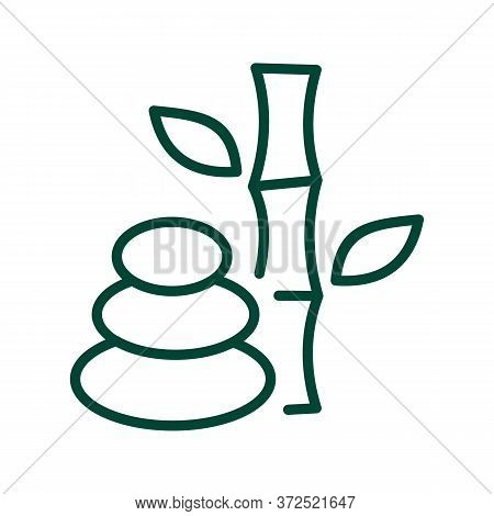 Bamboo And Balance Stones Icon Vector. Bamboo And Balance Stones Sign. Isolated Contour Symbol Illus