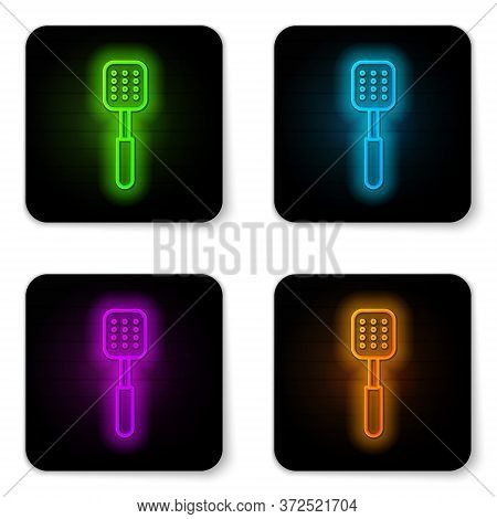 Glowing Neon Line Spatula Icon Isolated On White Background. Kitchen Spatula Icon. Bbq Spatula Sign.