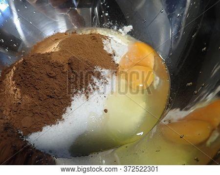 Homemade Baking A Cake Process Wit Ingredients