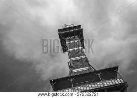 Copenhagen. Denmark. July 30, 2019: The Observational Tower Of The Zoo In Copenhagen. Bottom View.bl