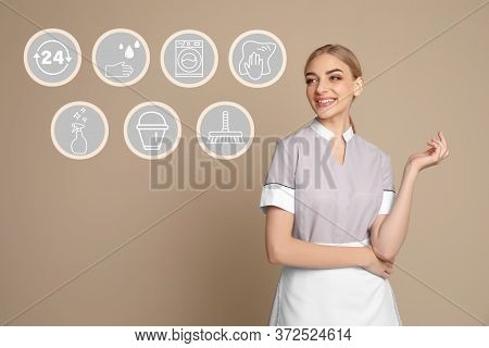 Young Chambermaid And Different Icons On Beige Background