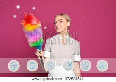Young Chambermaid And Different Icons On Pink Background