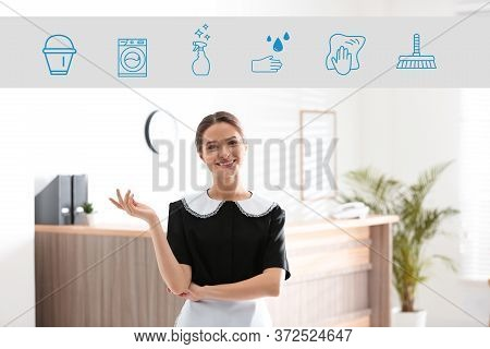 Young Chambermaid And Different Icons In Hotel