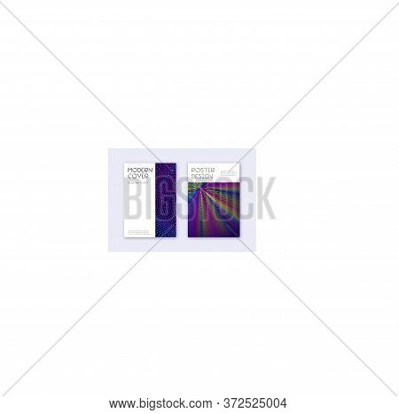 Minimal Cover Design Template Set. Rainbow Abstract Lines On Dark Blue Background. Decent Cover Desi