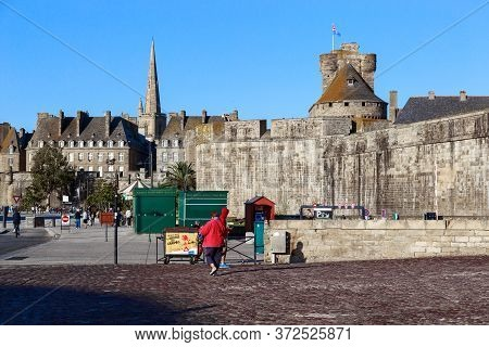 Saint-malo, France - September 3, 2019: This Is A View Of The City Fortifications From The Saint Vin