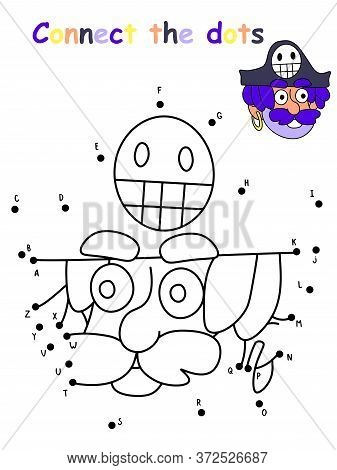 Amusing Pirate Head Dot To Dot Children Game. Educational And Funny Game With English Letters. Pract