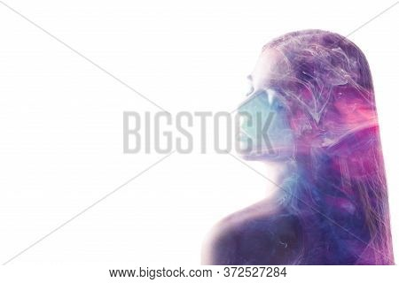 Spiritual Portrait. Inner Universe. Purple Steam In Peaceful Woman Silhouette Double Exposition Isol
