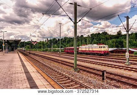 Rottweil,germany - June 20,2020:train Station This Is The View From The Platform To An Old,vintage L