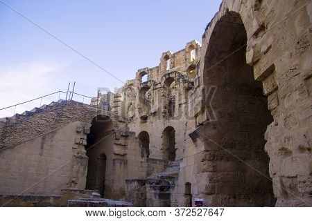 Inside Of Coliseum Of El Jem Tunisia. Ancient Amphitheatre In North Africa 13 Oct 2018
