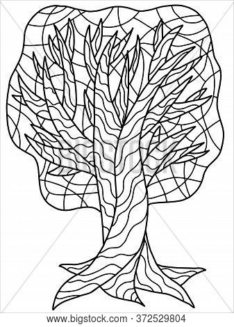 Tree Coloring Book Page. Black Outline Of Big Old Tree Isolated On White. Garden Tree With Branches,