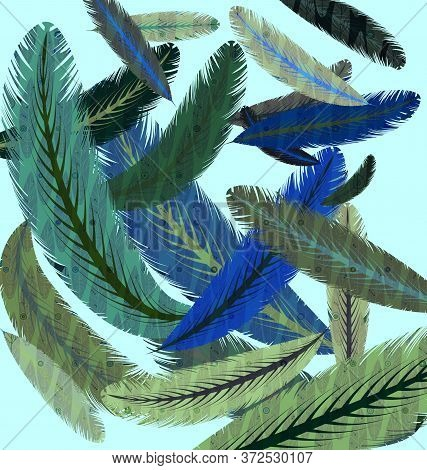 Blue Background And Image Of Flying Colored Feathers