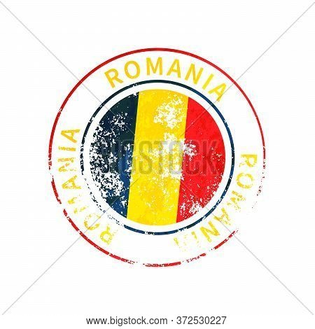 Romania Sign, Vintage Grunge Imprint With Flag On White