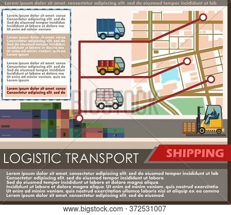 Warehousing Services And Targeted Delivery Of Goods, Shipments. Vector. Poster For Logistic Transpor