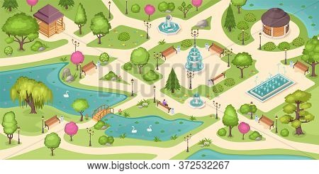 City Park Summer, Isometric Background With Trees, Lawns And Fountains. Empty Urban City Park Landsc
