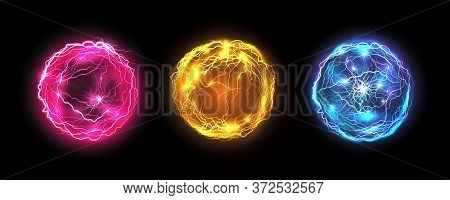 Energy Balls And Plasma Sphere, Electric Lightning And Light Flash Sparks. Magic Lightning Discharge