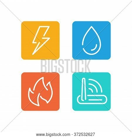 Technical Building System Icons Set - Electricity, Gas Supply, Water Supply And Lan Internet - Vecto