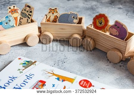 Children\'s Wooden Toys. Children Wooden Train With Wagons. Natural Wood Construction Set. Education