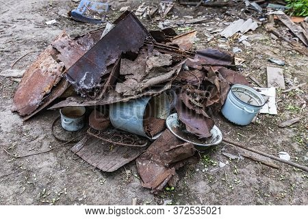 A Pile Of Old Iron Rusty Trash Close Up