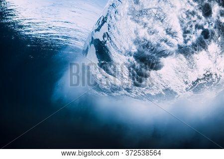 Ocean Wave With Vortex In Underwater. Sea Underwater