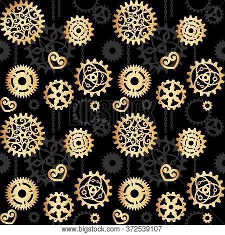 Golden Openwork Gears On A Black Background With Gray Cogwheels. Mechanism, Steampunk, Retro. Vector