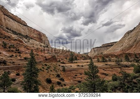Amazing Landscape Three Patriarchs Zion National Park Blue Sky