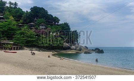 Koh Phangan, Thailand- April 19 2019: Whie Sand Beach