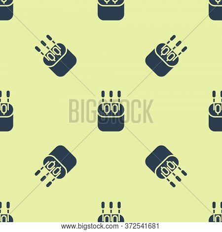 Blue Cotton Swab For Ears Icon Isolated Seamless Pattern On Yellow Background. Vector Illustration