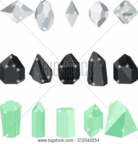 White And Black Diamonds And Green Emerald Crystal Jewels Isolated On White Background. Vector Illus