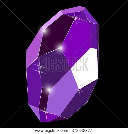 Fancy Deep Purple Crystal Gem Isolated On Black Background. Vector Illustration Jewel Or Precious Di