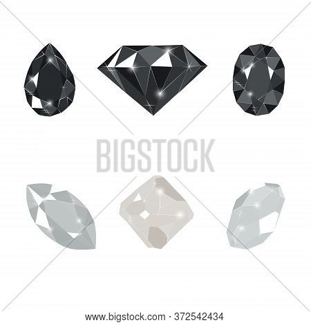 Black And White Diamond Gems Isolated On White Background. Vector Illustration Jewels Or Precious Di