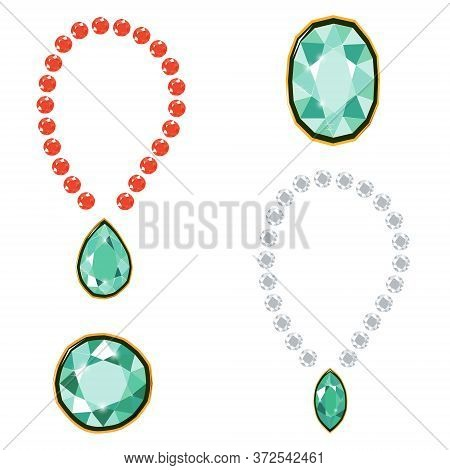 Fancy Intense Green, Ruby And White Diamond Gems Necklace Isolated On White Background. Vector Illus