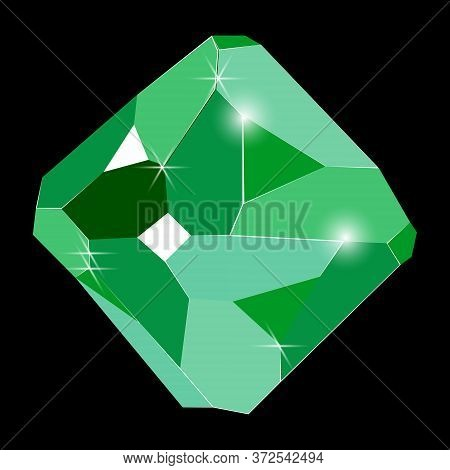 Fancy Vivid Green Emerald Crystal Gem Isolated On Black Background. Vector Illustration Jewel Or Pre