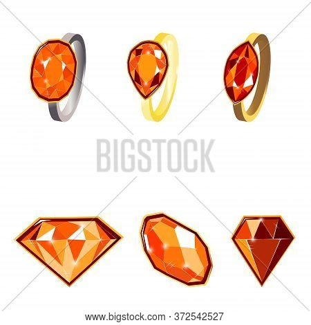 Fancy Vivid Ruby Diamond Gems And Golden Rings Isolated On White Background. Vector Illustration Jew