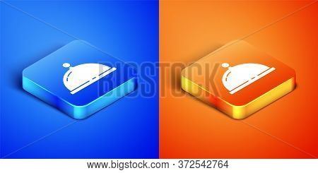 Isometric Covered With A Tray Of Food Icon Isolated On Blue And Orange Background. Tray And Lid. Res