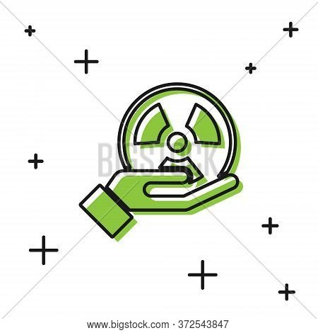 Black Radioactive In Hand Icon Isolated On White Background. Radioactive Toxic Symbol. Radiation Haz