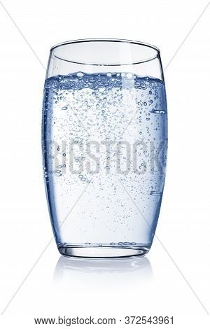 Glass Of Soda, Carbonated, Sparkling Water With Bubbles Of Gas Isolated On White Background.