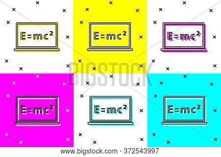 Set Math System Of Equation Solution On Chalkboard Icon Isolated On Color Background. E Equals Mc Sq