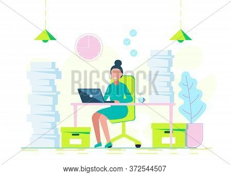 A young woman is working hard with a laptop and a bunch of documents.Business concept. Business people. Business background. Infographic business arrow shape template design. Business background, business concept. business banner. Building to success conc