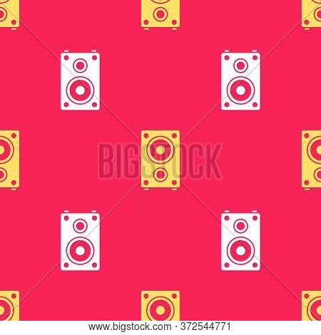 Yellow Stereo Speaker Icon Isolated Seamless Pattern On Red Background. Sound System Speakers. Music