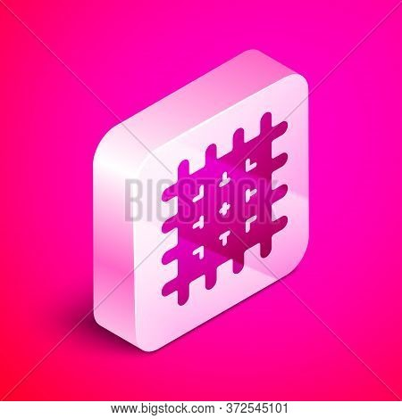 Isometric Cracker Biscuit Icon Isolated On Pink Background. Sweet Cookie. Silver Square Button. Vect