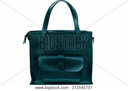 Women's Fancy Original Bag, Isolated On A White Background. Black Female Bag With Long Handles. Styl
