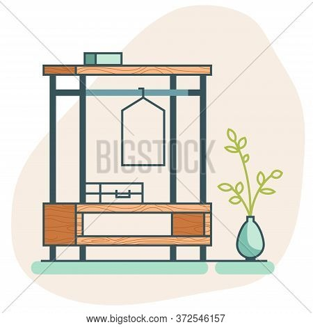 Flat Icon Isolated. Wooden Loft Wardrobe Icon With A Suitcase And A Hanger. Flat Vector Closet Icon.