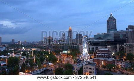 Amazing View Over The City Of Atlanta In The Evening - Atlanta, Georgia - April 21, 2016