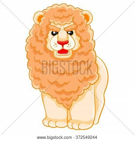Cute Lion With A Big Mane, Cartoon Illustration, Isolated Object On A White Background, Vector Illus