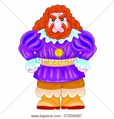 Fairytale Character Giant In A Purple Camisole And A Fierce Facial Expression, Cartoon Illustration,