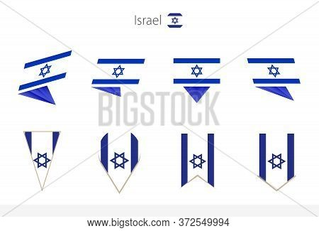 Israel National Flag Collection, Eight Versions Of Israel Vector Flags. Vector Illustration.