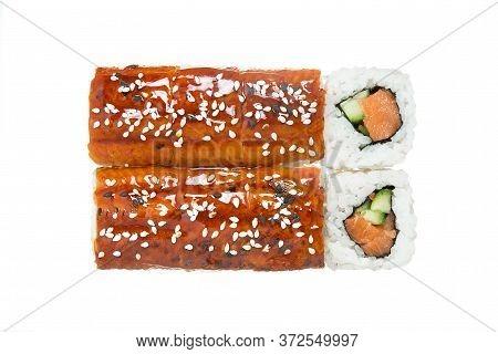 Japan Sushi Unagi Isolated On White Background