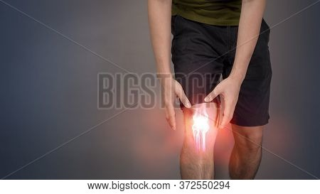 Close Up Man Leg Is Pain Knee Pain