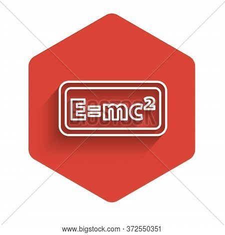 White Line Math System Of Equation Solution Icon Isolated With Long Shadow. E Equals Mc Squared Equa